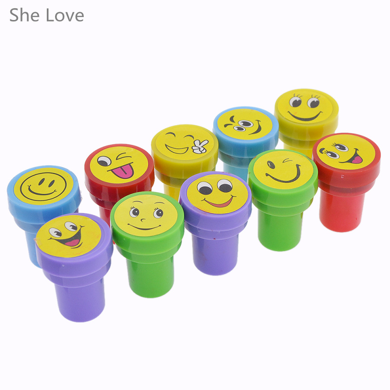 She Love 10pcs Lovely Cartoon Ink Round Stamp Seal Expression Smile Emoji Silly Face Scrapbooking