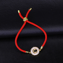 JUWANG Crystal 26 Initial Letters Charms with Red Rope Lucky Bracelets For Women Men Couple Jewelry Gifts