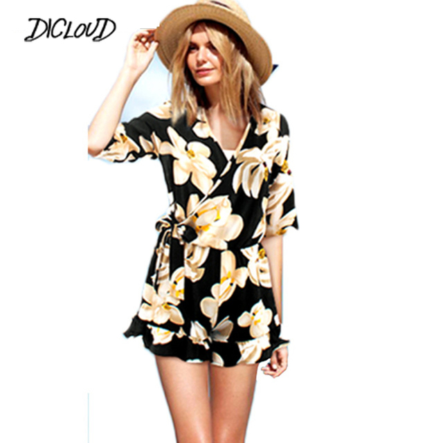 2018 Summer Floral Print High Waist Short Women Chiffon Jumpsuit Pants V-Neck Sexy Jumpsuit Boho Plus Size Beach Macacao S-5XL