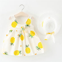 Toddler Baby Kids Girls Sleeveless Pineapple Princess Dresses Bow Hat Outfits vestidos de fiesta de nocherobe fille modis F1(China)
