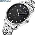 Luxury Brand CRRJU Calendar Watch Men Fashion Business Male Steel Quartz military Watches Sport Date Analog Wrist watch Relojes