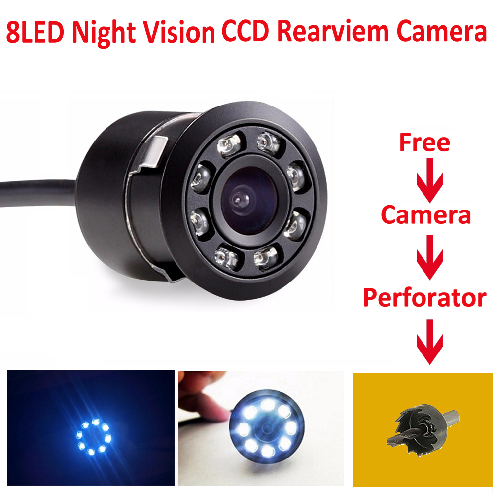 New 8 LED Car Vehicle Rear View Camera Back Up Camera Night Vision Waterproof Car Rear View Camera Reverse Paking For Universal