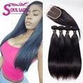 Бразильский Девственные Волосы 3 или 4 Пучки С Закрытием Дешевые Бразильского Виргинские Волосы Прямые Weave Связки Luvin Продуктов Волос
