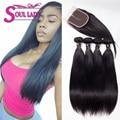 Cabelo brasileiro virgem 3 ou 4 pacotes com encerramento barato brasileira virgem cabelo liso weave bundles luvin produtos para o cabelo