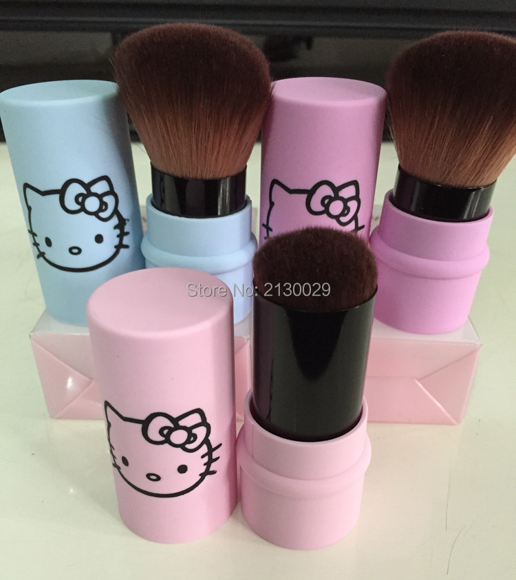 4ce491505 New Hello Kitty Makeup brushes KT Retractable Makeup Blush Brush Powder  Cosmetic Face Power Brush Kabuki Brush 3Colors 100pcs-in Eye Shadow  Applicator from ...