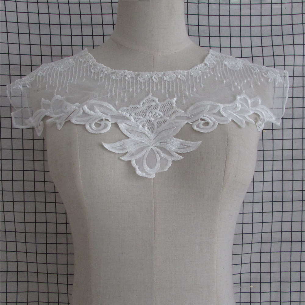 fashion style 1pc white Apparel Sewing Fabric Lace Collar Beautiful Flower and Lace Applique Trim Lace Fabric Sewing Supplies