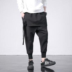 Image 4 - 新西洋ディアブロスタイルのファッション個性サイドリボンメンズジョガーヒップホップ秋カジュアルストリート男性ハーレムパンツ