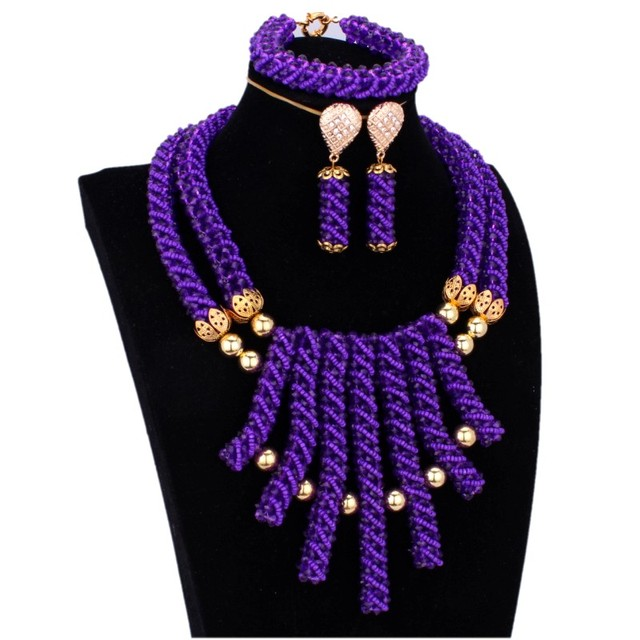 4UJewelry Bridal Jewelry Sets For Women Wedding African Purple and Gold Nigerian Jewellery Sets For Women Dubai Free Shipping