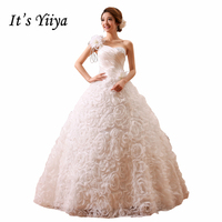 Free Shipping YiiYa New Wedding Dress 2015 Cheap Handmade Bridal Rose Wedding Dresses China White Wedding