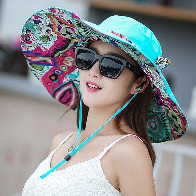 2018 Fashion Summer Hats For Women Sun Large Beach Hat Flower Printed Wide Brim