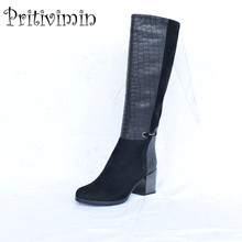 2017 Fashion female winter warm lined shoe woman thick high heel long boots  Ladies genuine leather footwear Pritivimin FN60