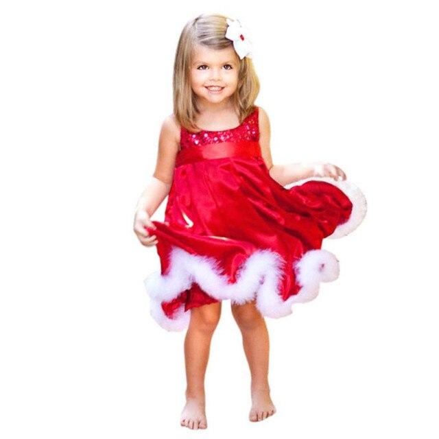Рождественские костюмы осень новорожденных девочек одеваться детские дети хлопок сплошной красный блестка юбки платья Рождество детская одежда пром платья