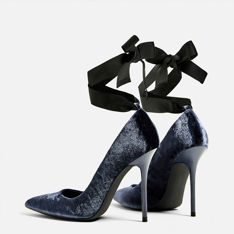 ФОТО Poppy beautiful spring new velvet fine with high heels pointed 10cm shallow mouth single shoes suede straps shoes