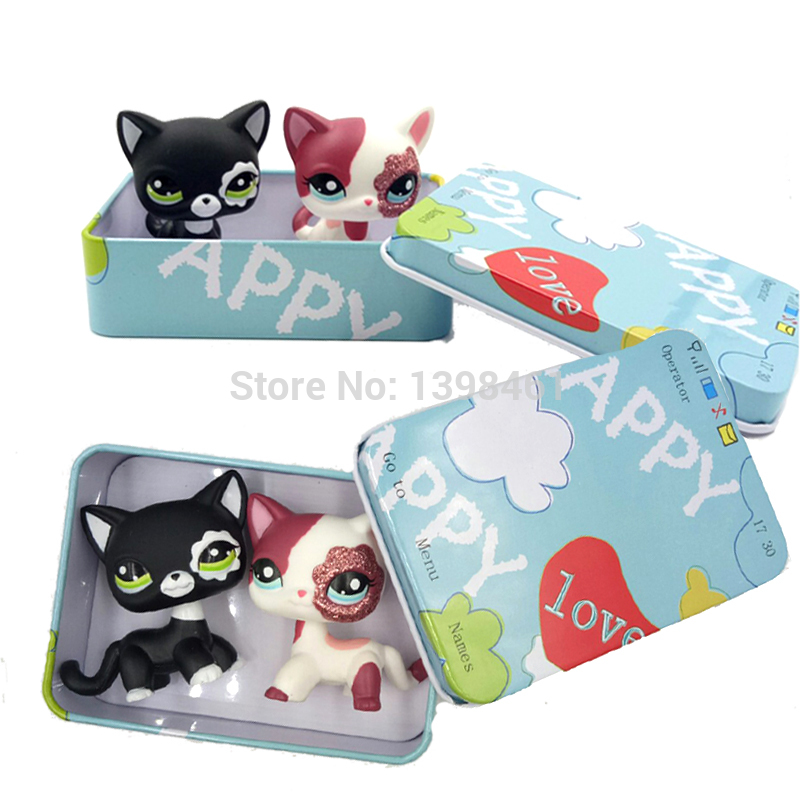 pet shop lps toys littlest short hair cat 2249 white pink glitter kitty 2291 rare animal with gift boxs toys for children цена