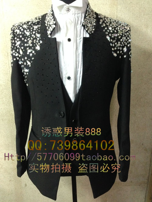 New Male Plus size Rhinestone handmade Slim suit blazer