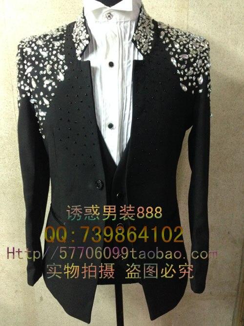 New Male Plus size Rhinestone handmade Slim suit blazer Mens fashion Formal dress for singer dancer nightclub show