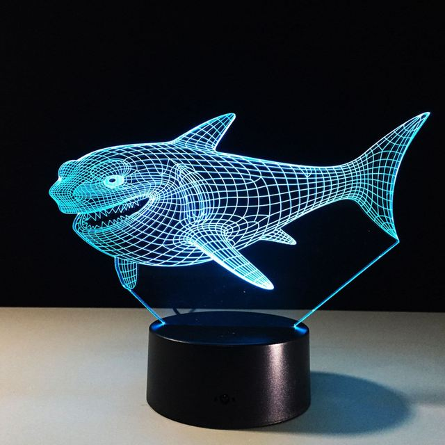 Colorful Animal Fish Shaped LED Sensor Touch Switch Light 3D USB Power Desk  Table Lamp Cafe
