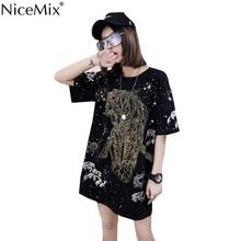 NiceMix 2019 Summer Harajuku T Shirt Women Tops Print Tiger Punk T-shirt Female Plus Size Loose Long Cotton Tee Shirts Femme