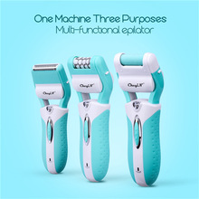 3 in 1 rechargeable lady epilator electric hair removal depilador callus dead skin remover shaver Razor foot care tool P00