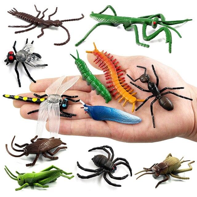 12 pc Insect Animal figura de ação do modelo Libélula Besouro aranha Formiga Barata Mantis Gafanhoto Críquete hot set brinquedo para crianças