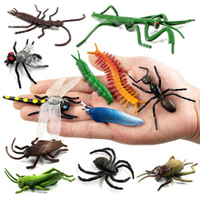 12pc Insect Animal model action figure Dragonfly Beetle spider Ant Grasshopper Mantis Cockroach Cricket hot toy set for children