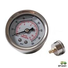 Топлива Давление регулятор Манометр 0-160 фунтов/кв. дюйм/бар жидкий наполнитель Chrome топлива/маслоуказателя ep-ga01-fs