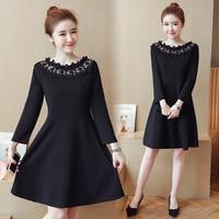 4xl New Lace Stitch Thin Black Cute Sweet Dress Female Y0616