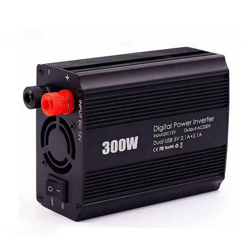 DC12v to AC220v Inverter, 300w Inverter, Modified Sine Wave, Home USB Power Converter converter dc12v to ac220v inverter modified sine wave peak power 2000w sia1000w home solar power car inverter