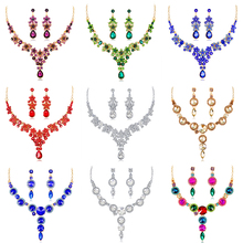 Rinhoo Crystal Wedding Jewelry Set Luxurious Elegant Women Bride Masquerade Necklace Earrings Rhinestone Charming Jewelry Set цена