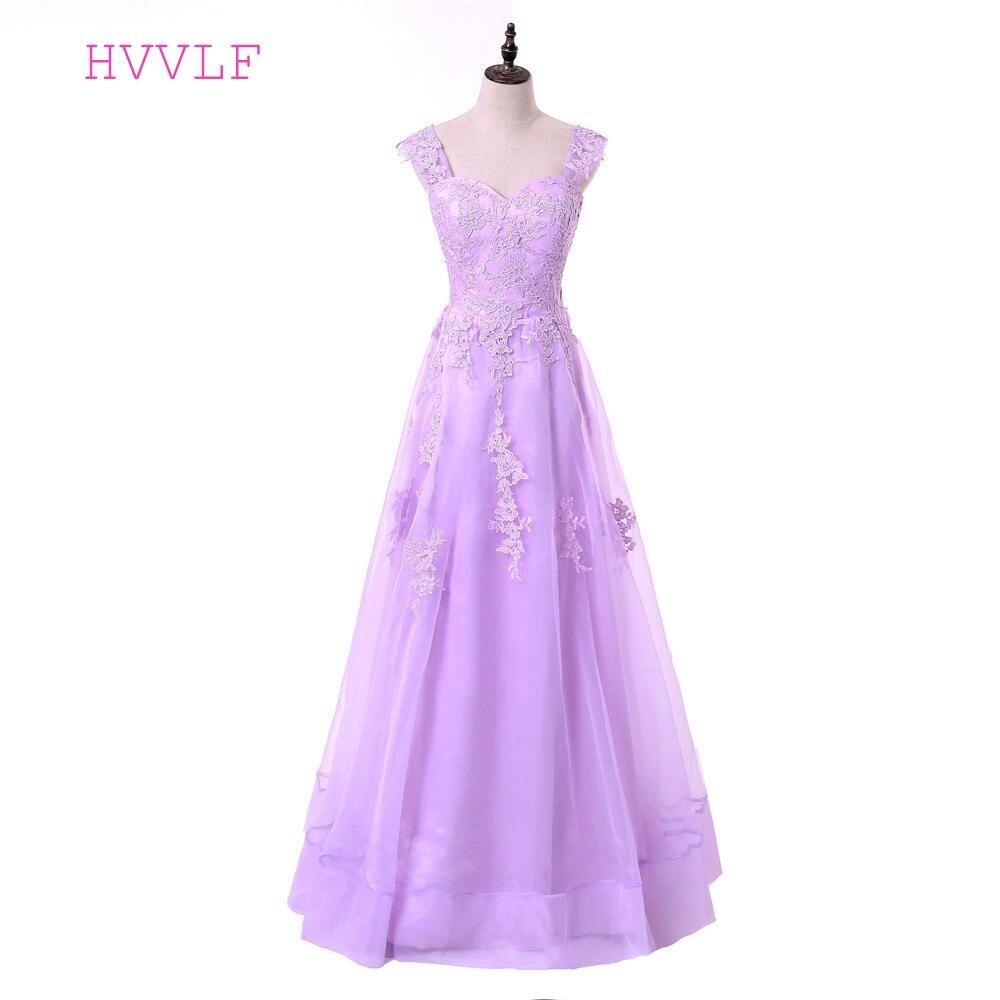 Lavender Evening Dresses 2019 A-line Cap Sleeves Tulle Appliques Lace Women Long Evening Gown Prom Dresses Robe De Soiree