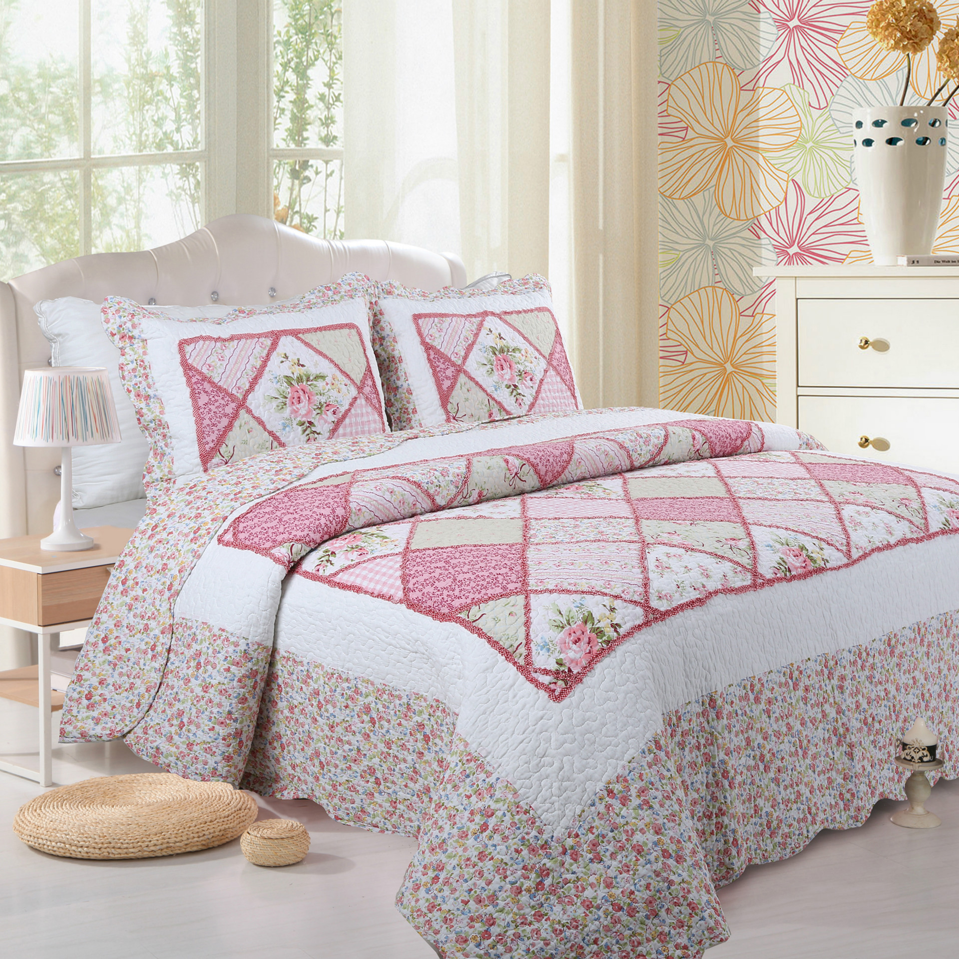 3 ชิ้นสีชมพู Rose Patchwork ผ้าคลุมเตียงผ้าคลุมเตียงหมอน shams 100% ผ้าฝ้ายโยนโซฟา Reversible Coverlet Ultra Soft-ใน ผ้าคลุมเตียง จาก บ้านและสวน บน   1