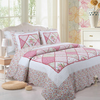 3Pieces Pink Rose Patchwork Bedspread Bedcover Pillow shams 100% Cotton Rich Bed Throw Sofa cover Reversible Coverlet Ultra Soft