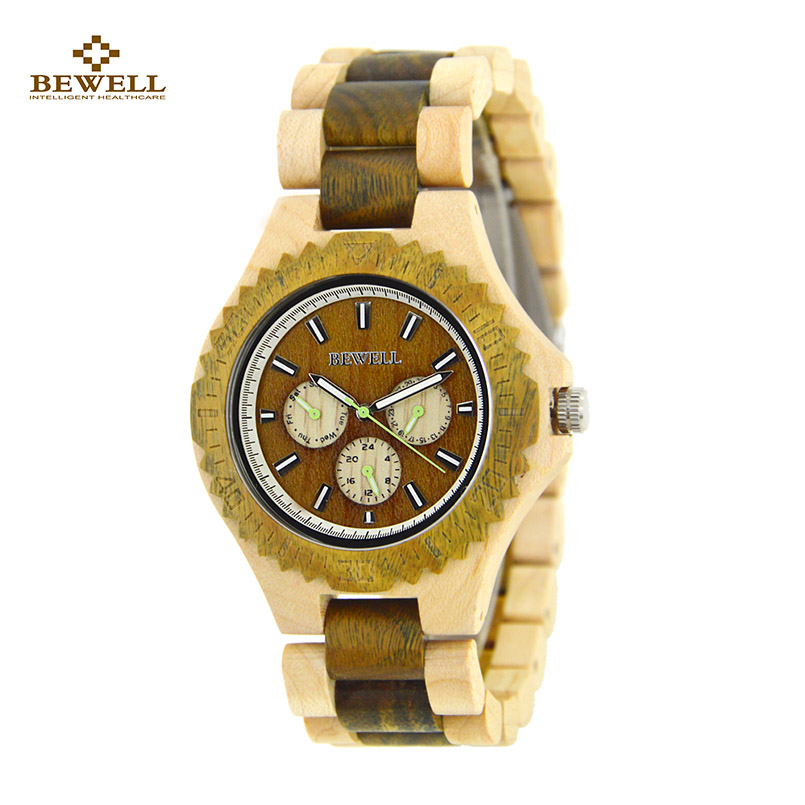 BEWELL Wood Quartz Watch Luxury Wooden Wristwatches for Sale Fashion Men Watch with Wooden Strap Maple Band Christmas Gift 116B men wooden watch for male quartz wristwatches sandalwood strap calendar clock luxury brand wood watch with gift box friend 100bg