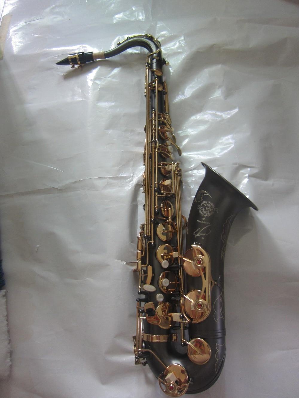 tenor saxophone Free delivery SELMER 54 Sax drop B. Matt black Gold bond Saxophone instrument france henri selmer bb tenor saxophone instruments reference 36 drop b saxophone surface gold lacquer pink body professional sax