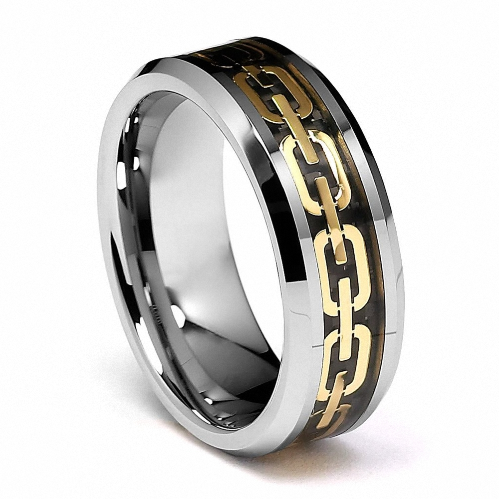 Hot Sale Men Tungsten Wedding Bands Jewelry Statement Gold Color