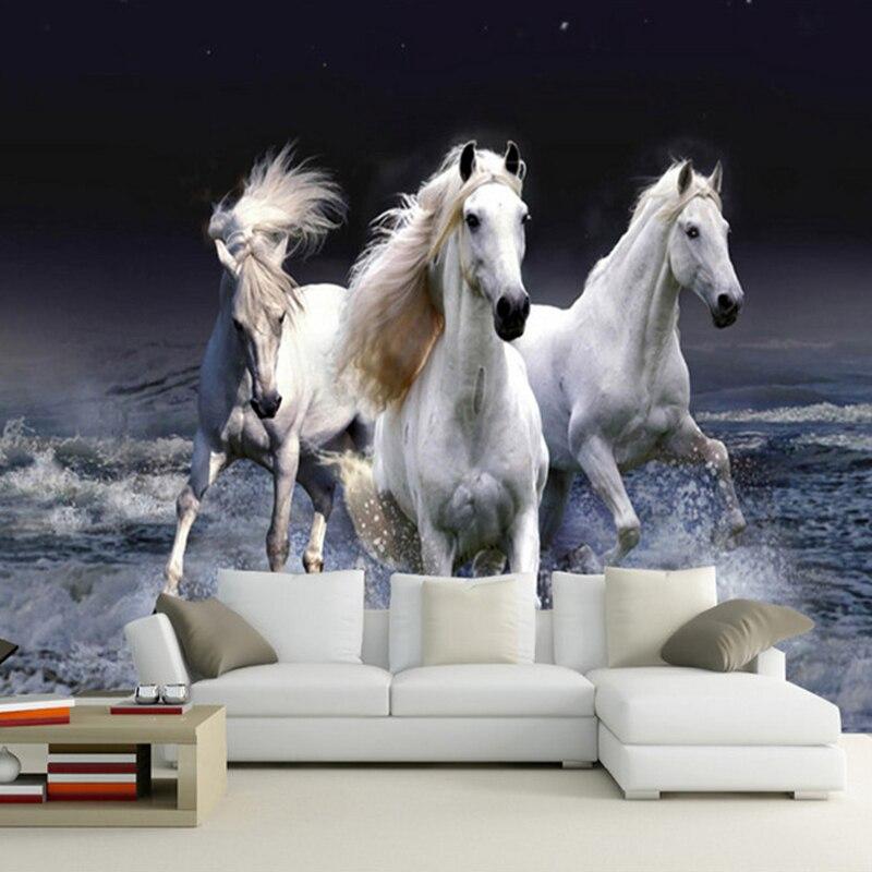Photo Wallpaper 3D Stereo White Horse Spray Splash Landscape Mural Living Room Bedroom Classic Home Decor Wallpaper For Walls 3D