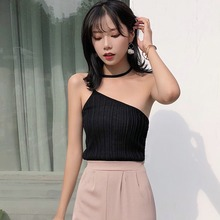 Crop Top Women Sexy Sleeveless Halter Pullover Tank Top Off-The-Shoulder Knitted Solid Tank Top camisole 2019 Fashion Korean fashion off shoulder halter stripe pattern crop top