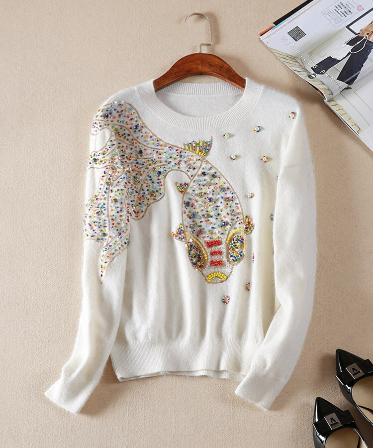 Hchenli Brand 2018 Women Fish Beaded Sweater Colorful Beaded Colorful Pattern White Black Blue Grey Sweater