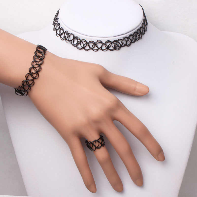 1 Set Summer Style Collares Women Girls Elastic Vintage Gothic Punk Stretch Tattoo Choker Necklace Bracelet Adjustable Stretchy