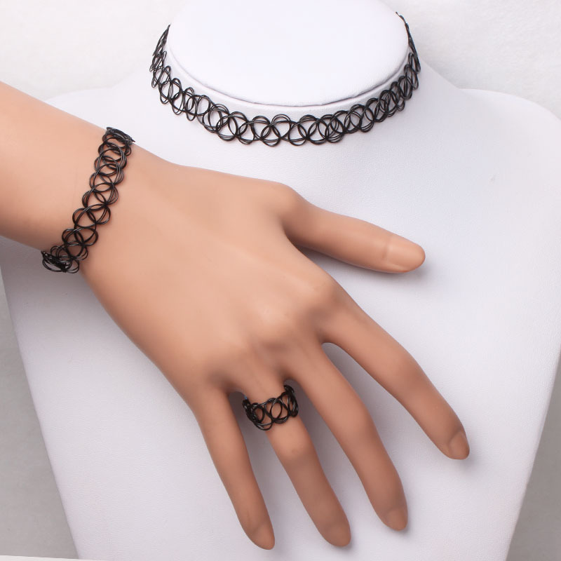 1 Set Retro Punk Stretch Tattoo Choker Necklace Bracelet Ring Black Elastic Boho