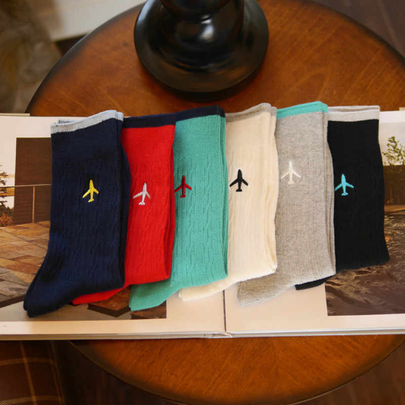 Pure Color Men  business dress socks casual cotton socks embroidery aircraft personality, High Quality Fashion Designer Brand