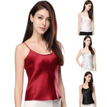 Women Summer Sexy Faux Silk Sleepwear Strappy Tank Tops Sleeveless Solid Color Smooth Vest pajamas(China)