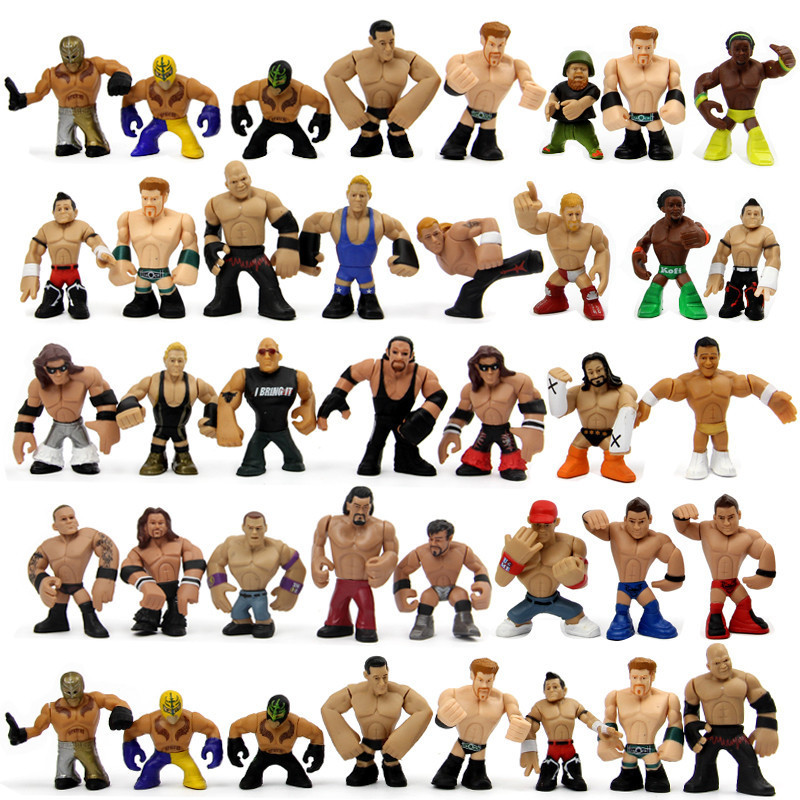 31pcs/lot Q version Juguetes America Occupation Wrestling Gladiators Wrestler Action Figure Toys for Children Christmas Gift