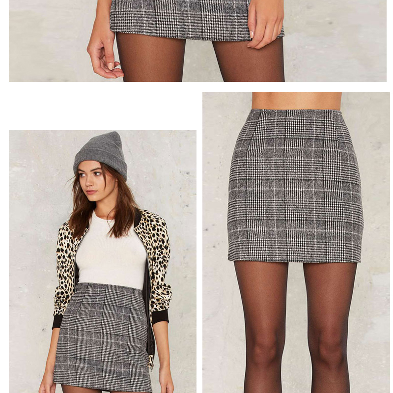 Haoduoyi Pencil Sexy High Waist Plaid Mini Short Skirt Casual Women Office Lady Buttoms Zipper Back Hot Sell The New Listing 11