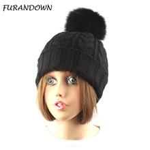 FURANDOWN Fox Fur Pompom Hat Women Winter Cap Lady Beanies Brand pompons Hats