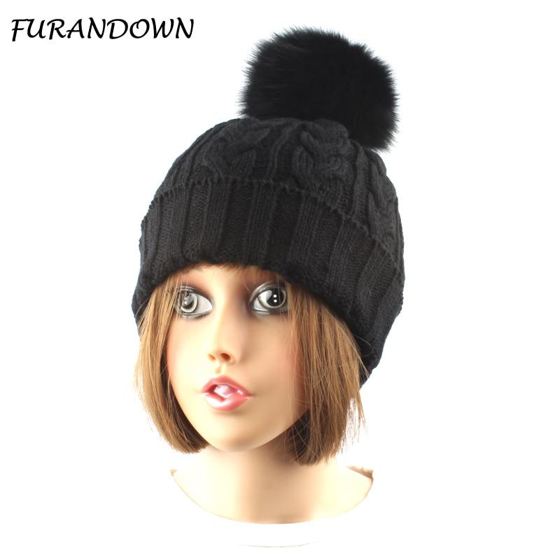 FURANDOWN Tülkü Kürk Pompom Şapka Qadınlar Qış Qapağı Lady - Geyim aksesuarları - Fotoqrafiya 1
