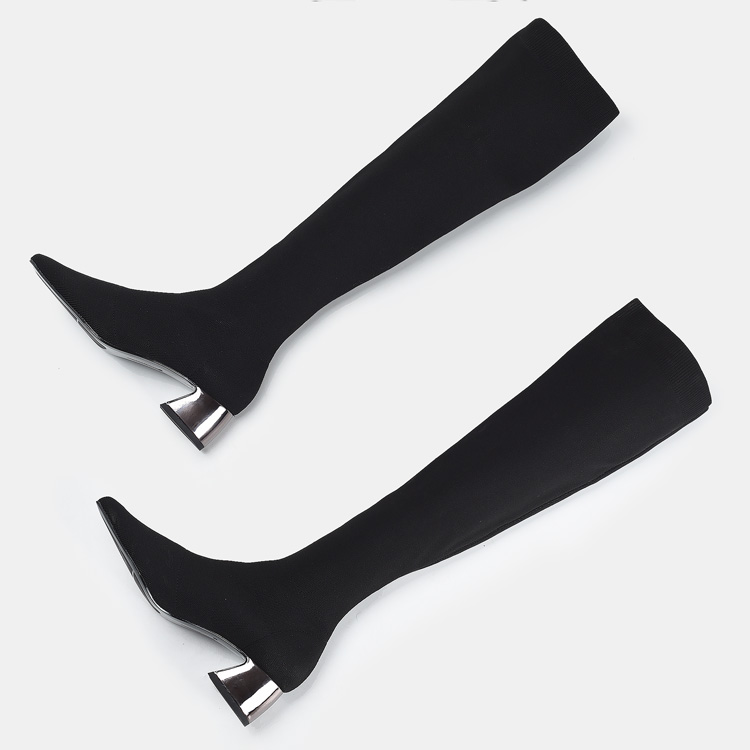 Fashion New Boots Over The Knee Length Women Stretchy Fabric Winter Long Boots Warm Shoes Fur Heels Pointed Toe Woman aa0100 in Over the Knee Boots from Shoes