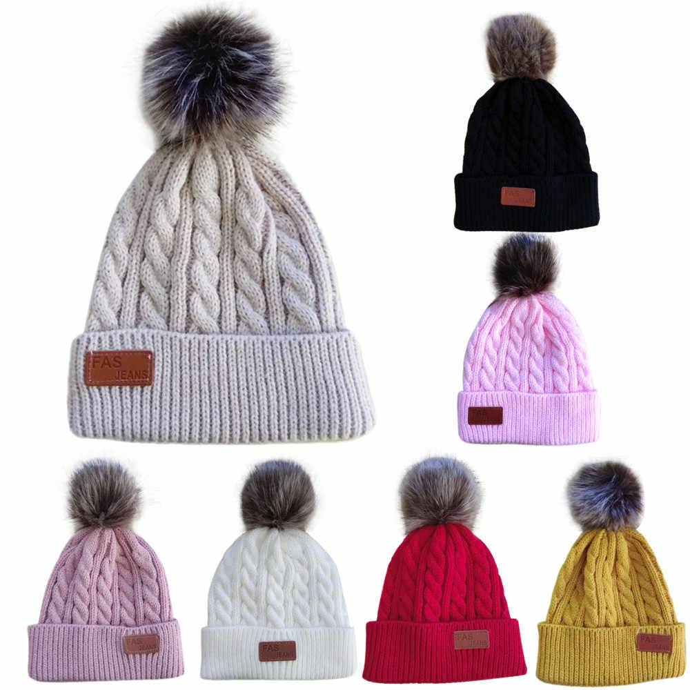 0f1550070cb Letter Patch Beanie Winter Hats for Kids Quality Fur Pompom Ball Knitted  Hat Baby Boy Girls