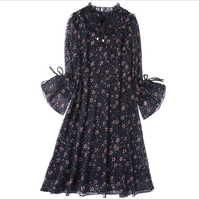 Casual Arc ligne Créateur Beach Longues Imprimer Holiday Manches A Lady 2018 De Haute Mode Noir Qualité Fleur Piste Robe Printemps UwxO85Sw
