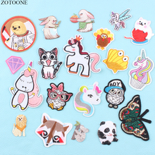ZOTOONE Fashionable Unicorn Animals Patch Stripes Applique on Clothing Embroidered Patches  for Clothes DIY Applications Garment